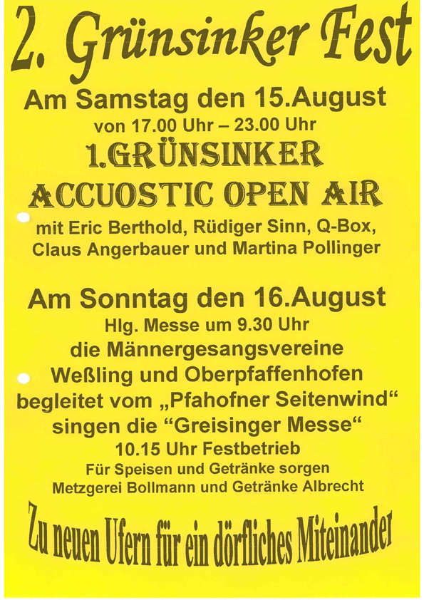 2. Grünsinker Fest - Flyer zur 1. Weßlinger Music Night 2009