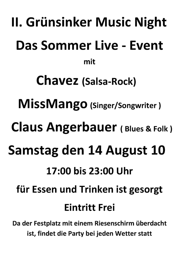 2. Grünsinker Fest - Flyer zur 2. Weßlinger Music Night 2010