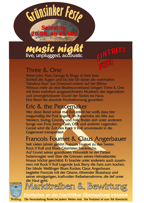 2. Grünsinker Fest - Flyer zur 3. Weßlinger Music Night am 20. August 2011